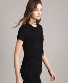 T-shirt with pleated tulle flounces Black Woman 191MP2235-02