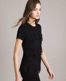 T-shirt con balze in tulle plissé Nero Donna 191MP2235-02