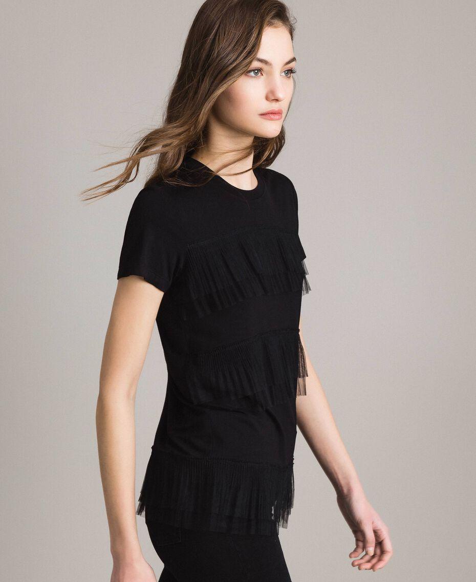 T-shirt avec volants en tulle plissé Noir Femme 191MP2235-02