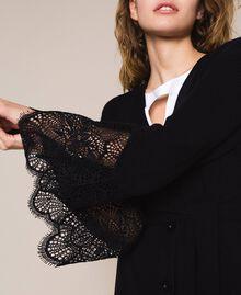Maxi cardigan côtelé avec dentelle Noir Femme 201TP3121-04