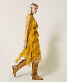 Vestido de tul con volantes plisados Amarillo Azafrán Mujer 212TP2200-04