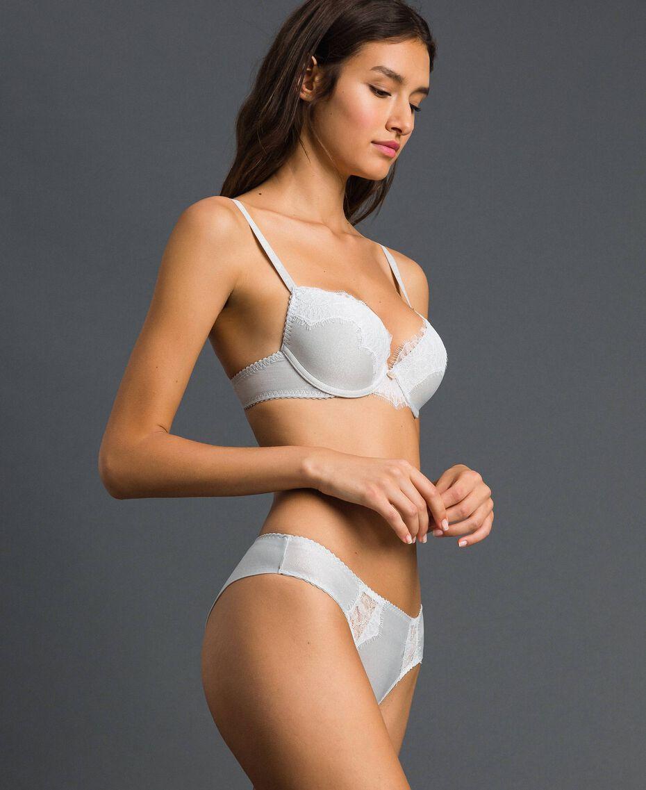 Push-up bra with lace Silver Lurex Grey Woman 192LL6B44-02