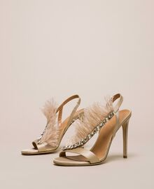 Satin sandals with feathers Nougat Beige Woman 999TCP032-01
