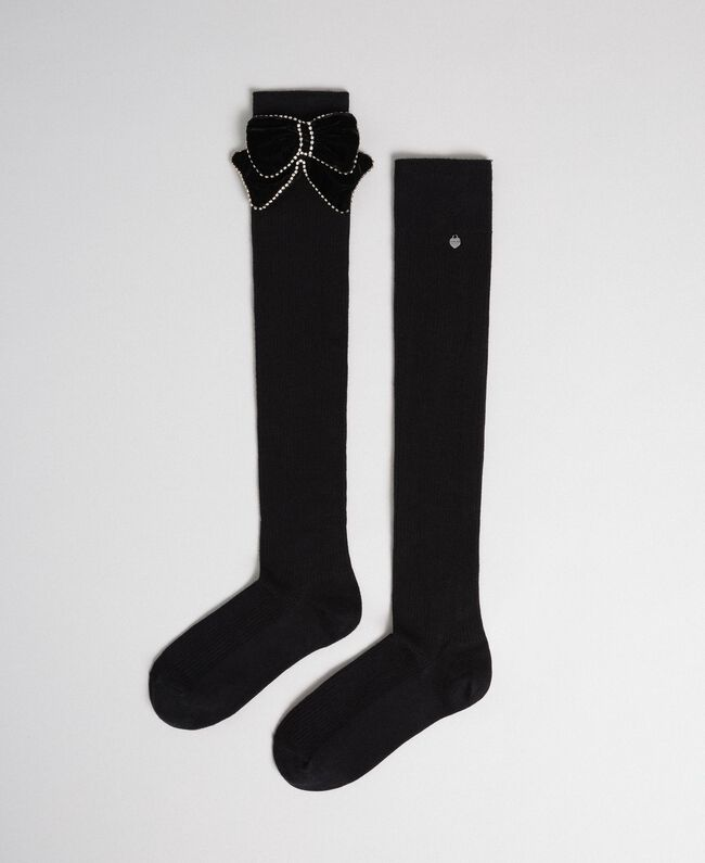 Above the knee stockings with removable bow Black Woman 192TA4323-01