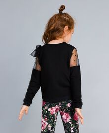 Viscose sweatshirt with embroidered tulle Black Child GA82LN-04