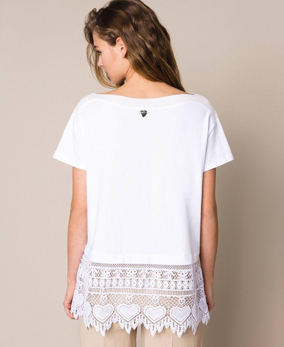 Maxi t-shirt avec broderie macramé Blanc Femme 201LM2HCC-03