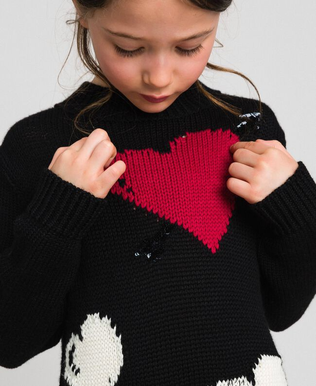 Abito in maglia con cuori a intarsio Nero / Jacquard Bambina 192GJ3190-04