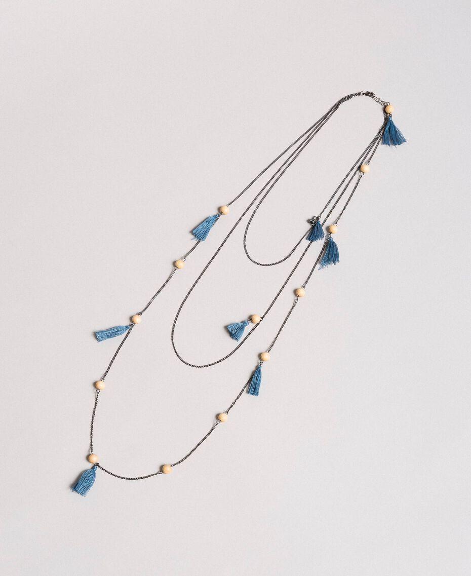 Collana multifilo con nappine Mykonos Blue Chiaro Donna 191TA431K-02