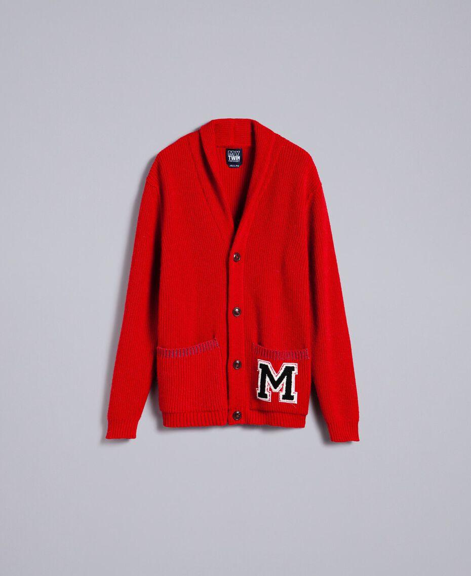 Cardigan aus Wolle und Alpaka Rot Mohn Mann UA83DB-0S