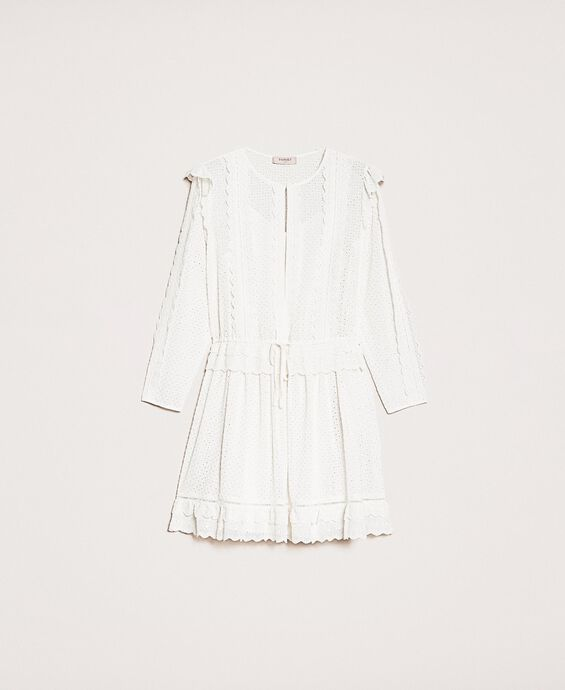 Broderie anglaise dress with drawstring
