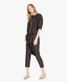 Jacquard trousers Black Jacquard / Gold Stripes Woman TS82VB-05