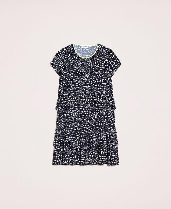 Heart print and flounce dress