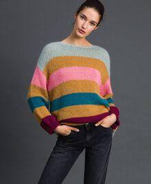 Maxi jumper with multicolour stripes Irish Cream Hazelnut Woman 192MP3221-01