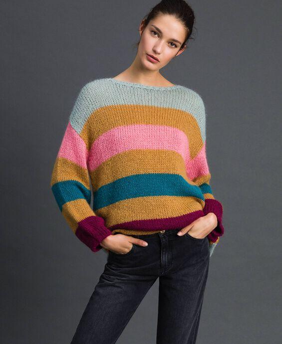 Maxi pull avec rayures multicolores