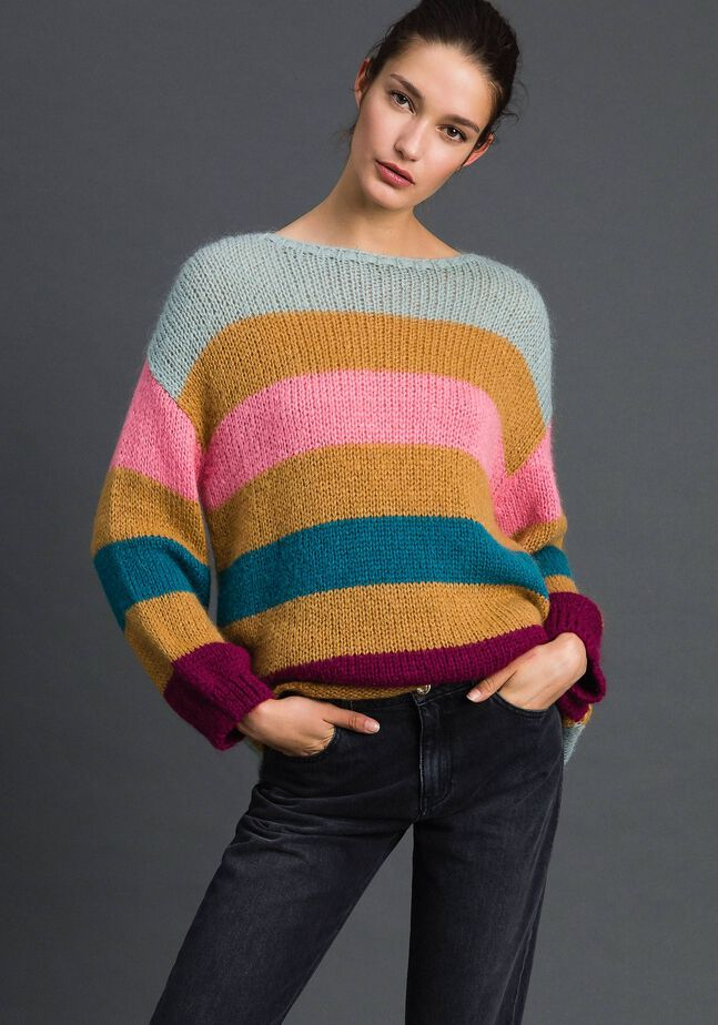 Maxi jumper with multicolour stripes