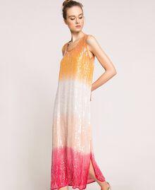 Платье в технике тай-дай со сплошной отделкой пайетками Разноцветный Батик Радужный Розовый женщина 201TT2330-04
