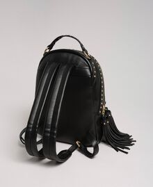 Faux leather backpack with studs Black Woman 192TO8165-04