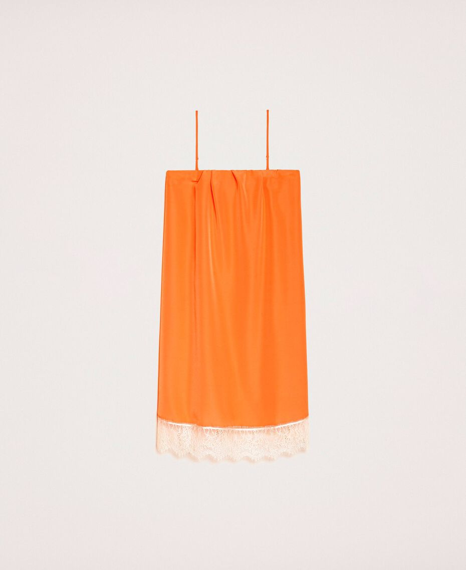 "Lace slip dress Two-tone ""Calendula"" Orange / Off White Woman 201MT2282-0S"