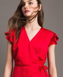 "Vestido largo de raso de lino Rojo ""Lipstick Red"" Mujer 191TT2303-01"