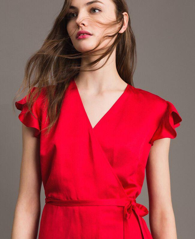 """Envers satin linen long dress """"Lipstick Red"""" Woman 191TT2303-01"""