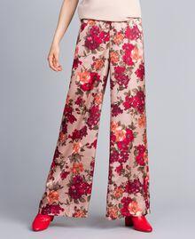 """Pantaloni palazzo con stampa fiori Stampa Floreale Rosa """"Nudo"""" Donna SA82E3-02"""