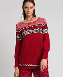 Maxi pull en mélange de laine et mohair jacquard Rouge Ardent Femme 192LL3AHH-03