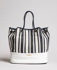 Plaited faux leather bucket bag Indigo Woman 191TO8131-02