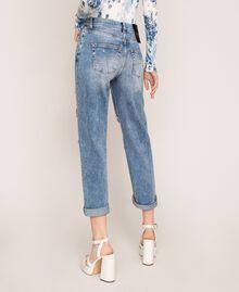 Jeans con rotture e ricami Denim Blue Donna 201MT2266-04