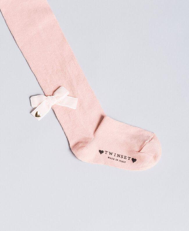 Calzamaglia in cotone con fiocco Dark Rose Bambina FA8ABB-01