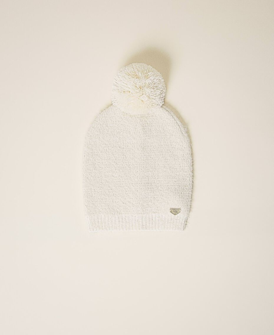 Mottled knit hat Ivory Woman 202LI4ZRR-01