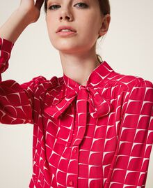 "Crêpe de Chine shirt dress with bow ""Cerise"" Fuchsia /""Dew"" White Optical Print Woman 202ST2502-05"