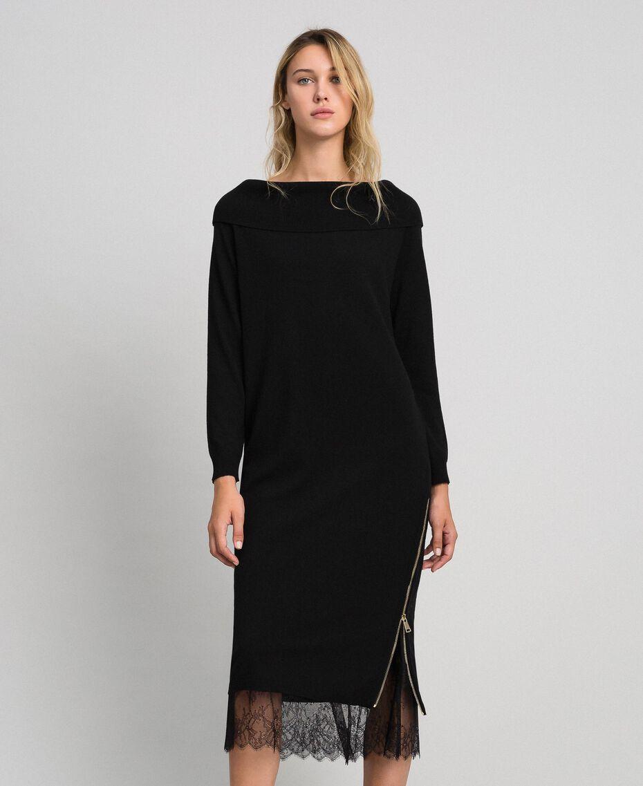 Robe en cachemire mélangé avec fonde robe en dentelle Noir Femme 192TT3091-02