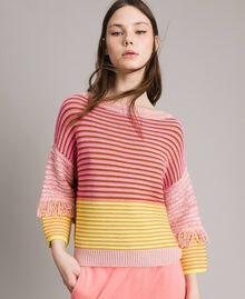 Pull effet patchwork avec franges Rayures Patchwork Rose / Jaune Femme 191TP3311-05
