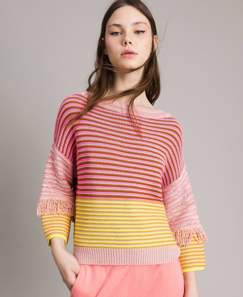 Patchwork effect top with fringes Patchwork Pink  / Yellow Striping Woman 191TP3311-05