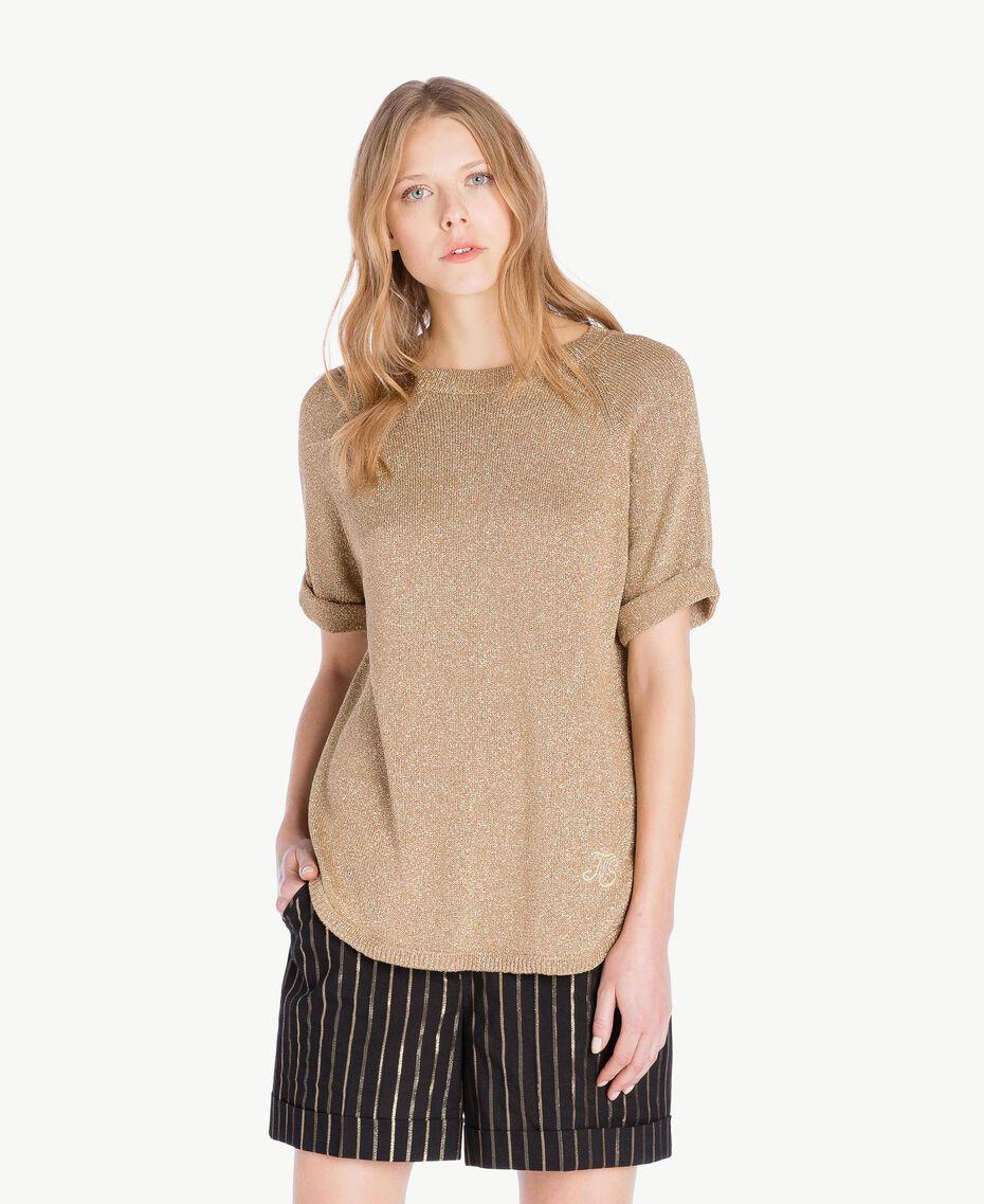 Pullover aus Lurex Lurex Kamelbraun Frau TS8331-01