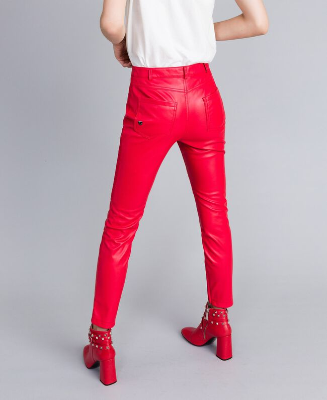 Pantalon biker en similicuir Rouge Coquelicot Femme JA82DE-03