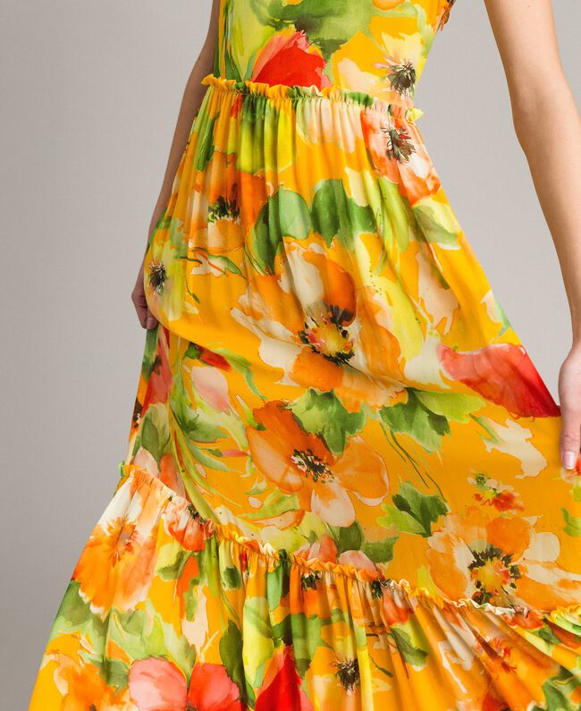 Floral print georgette long dress Macro Flower Yellow Print Woman 191TT2480-04
