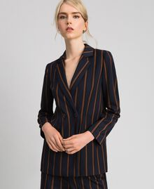 Double breasted pin stripe blazer Night Blue Striped / Red Earth Woman 192ST2230-01