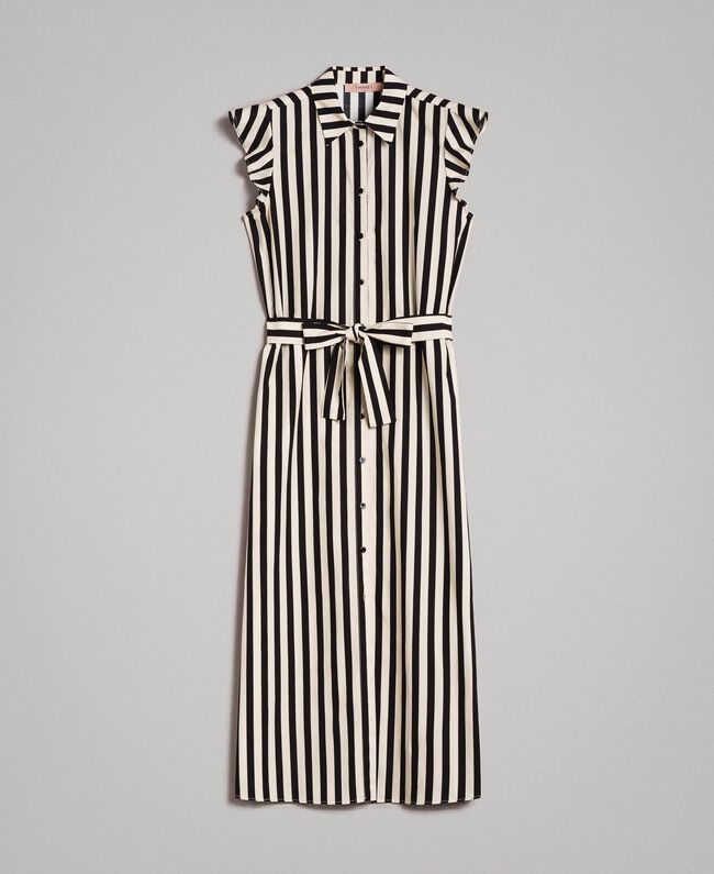 "Poplin striped shirt dress ""Marzipan"" Beige / Black Striped Print Woman 191TT2282-0S"
