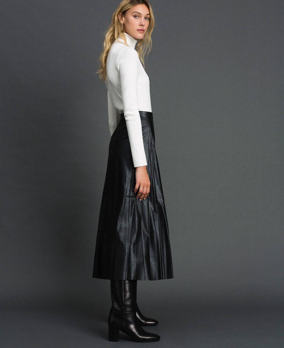 Jupe mi-longue en similicuir plissé Noir Femme 192ST2015-02