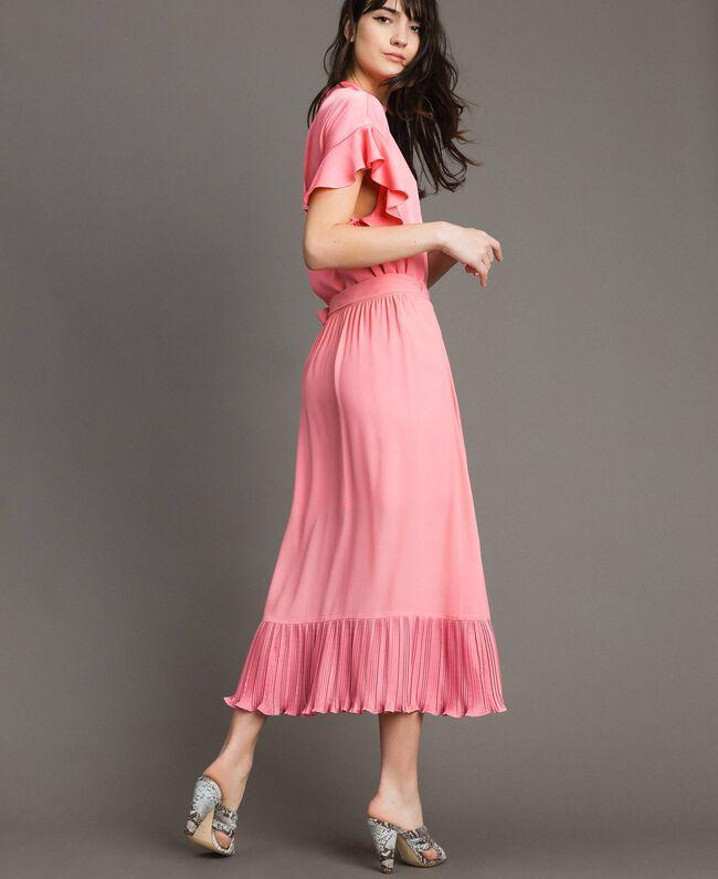 """Jupe longue plissée en soie mélangée Rose """"Églantine"""" Femme 191TP2146-04"""