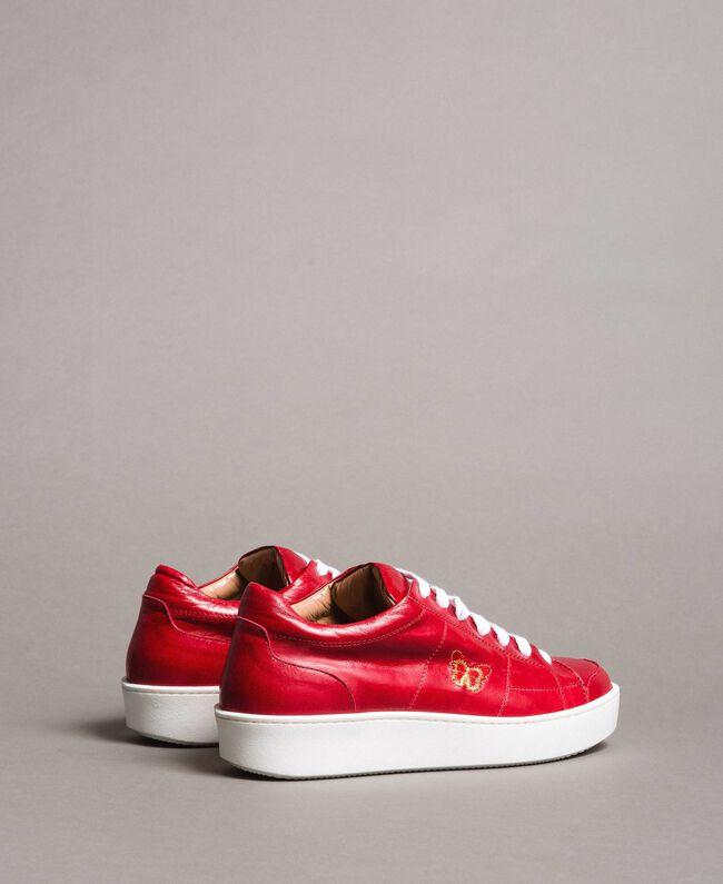 """Sneakers in pelle con ricamo a farfalla Rosso """"Lipstick Red"""" Donna 191TCT09Y-02"""