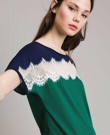 Robe longue color block avec dentelle Vert Evergreen Femme 191TP2271-04
