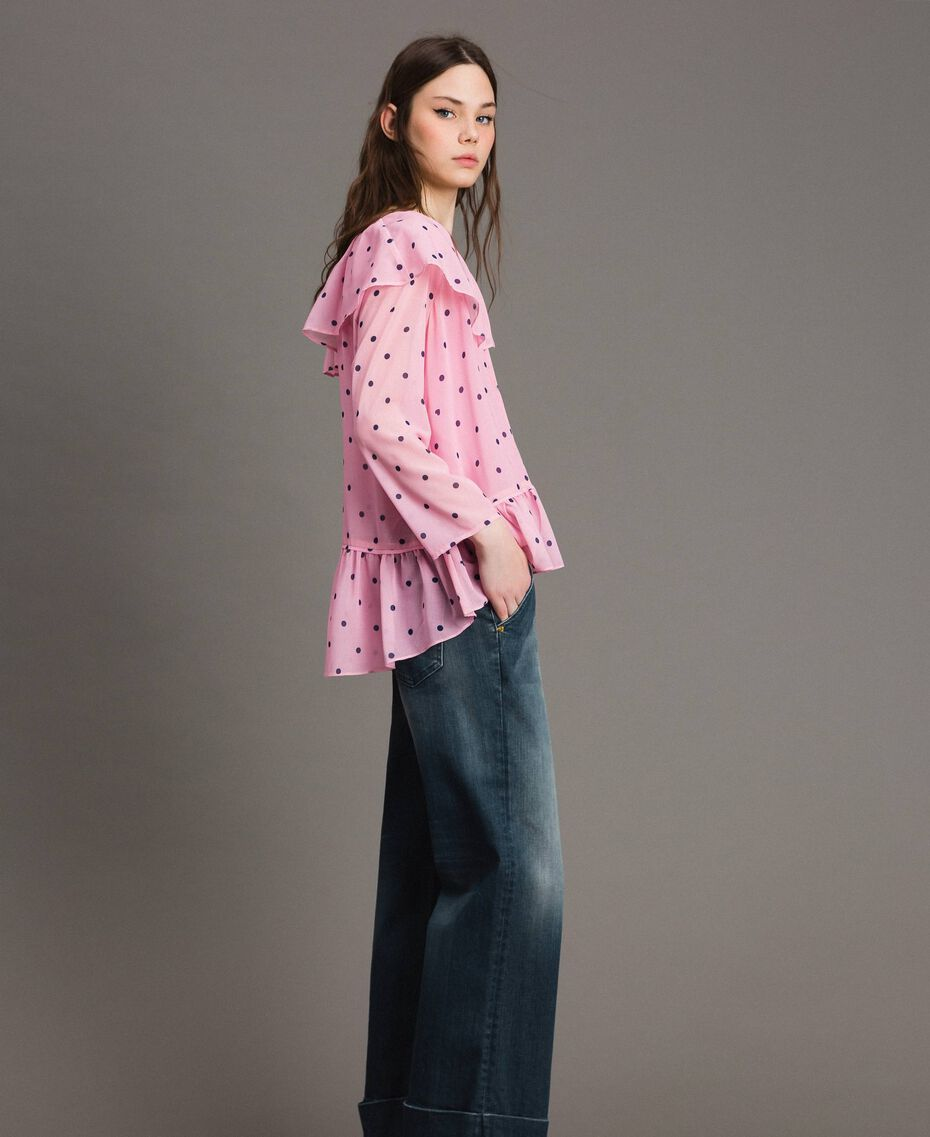 Georgette-Bluse mit Aufdruck Motiv Herzen Polka Dot Hortensienpink Frau 191MP2381-02