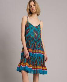 Robe en chiffon à imprimé motif floral Multicolore Chiné / Rayures Bleu Céramique Femme 191TT2364-03