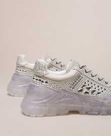 Suede running shoes with rhinestones White Woman 201MCT042-03