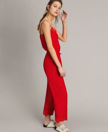 Crêpe de Chine trousers with lace Poppy Red Woman 191ST2067-02