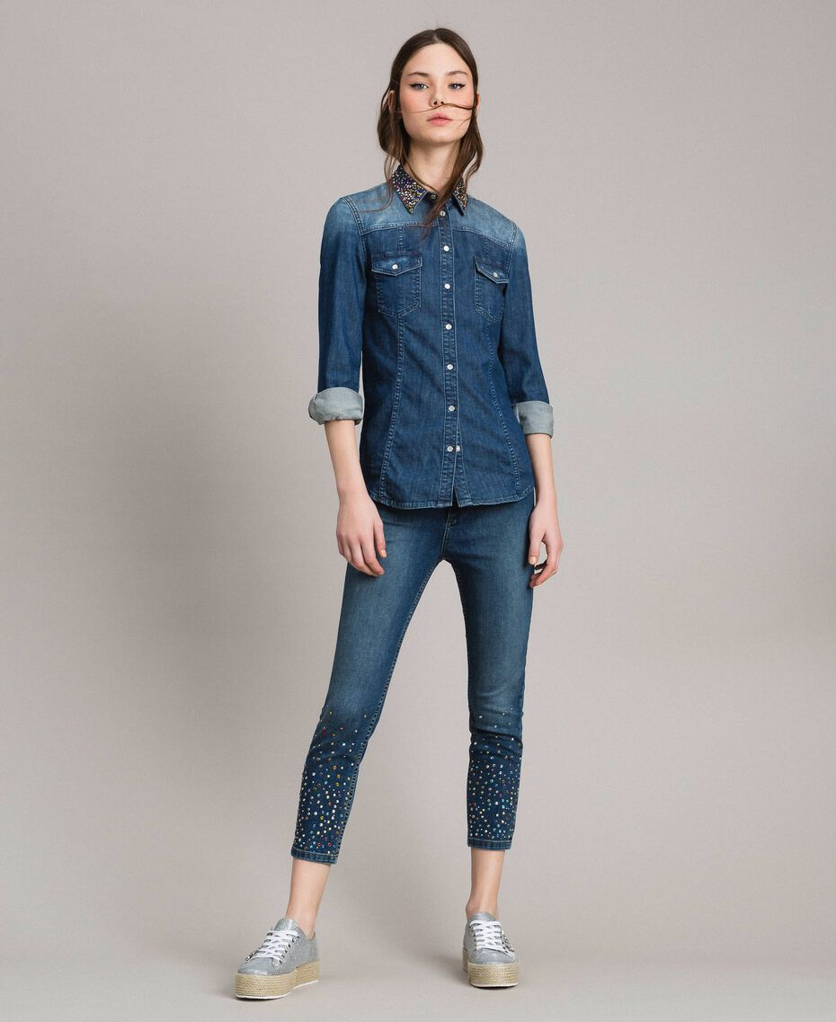 Skinny jeans with fadeout rhinestones Denim Blue Woman 191MP2421-0T