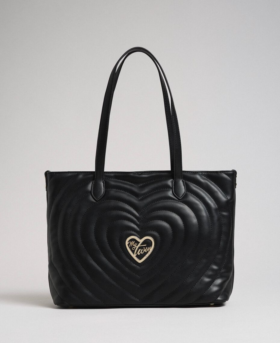 Borsa shopper in similpelle con cuori trapuntati Nero Donna 192MA7081-03