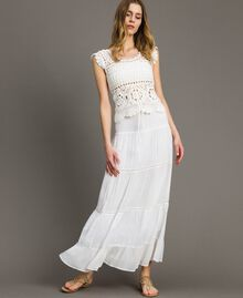 Skirt-dress with broderie anglaise White Woman 191LB2EDD-01